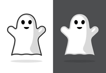 Cute ghost icon halloween boo vector illustration, funny ghost face