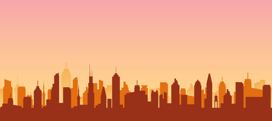 Cityscape silhouette urban illustration. City skyline building town skyscraper horizon background Fotomurales