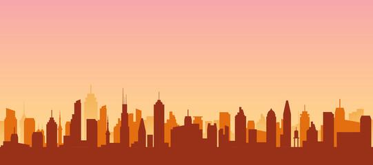 Cityscape silhouette urban illustration. City skyline building town skyscraper horizon background Fotobehang