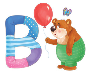 Capital letter B. Bear, balloon, butterfly. English alphabet. Letters with pictures. Coloring page. Cute and funny cartoon characters.