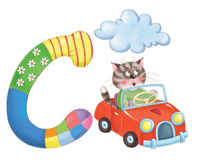 Capital letter C. Cat, car, cloud. English alphabet. Letters with pictures. Coloring page. Cute and funny cartoon characters.