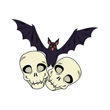 skulls halloween with bat flying style pop art design