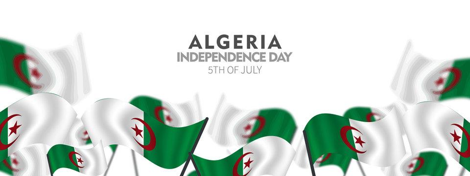 Independence Day of Algeria, posters, modern design vector illustration, 5 July 1962