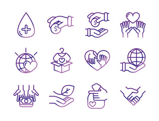 charity help donation icons set