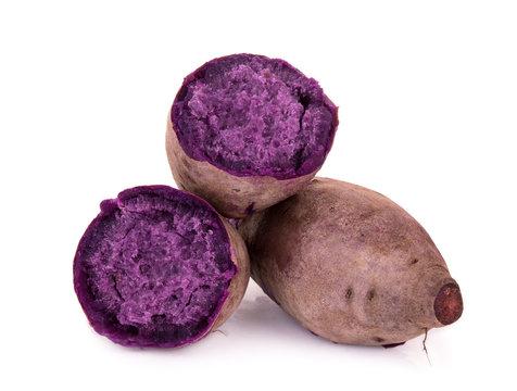 boiled purple sweet potato or yam isolated on white background