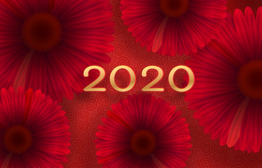Red gerbera flowers on a red-pink background with whirlpool patterns. Free space. Greeting card. New year 2020.