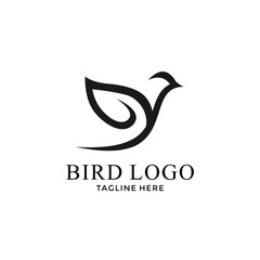simple bird with line art logo design vector