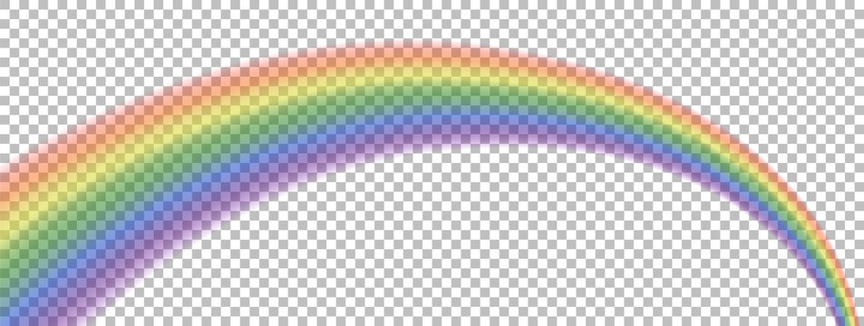 Translucent rainbow arcing from afar to the foreground. Isolated element for Your design. No background.