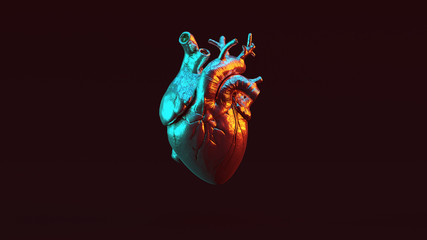 Silver Anatomical Heart with Red Orange and Blue Green Moody 80s lighting Front 3d illustration 3d render