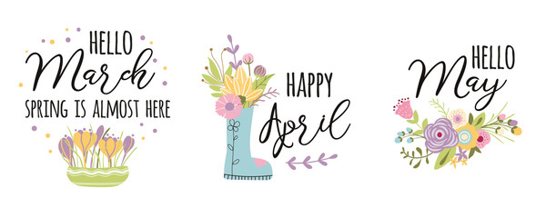 March, April, May typography spring quotes Cute words decorated hand drawn cute spring flowers