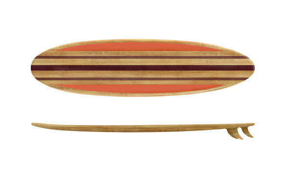 Vintage wood surfboard isolated