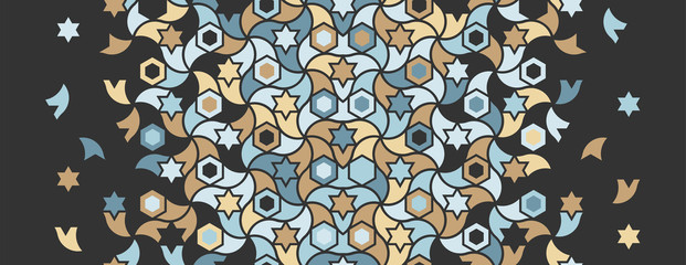 Geometric black and color islamic pattern. Geometric halftone texture with mixed color tile disintegration