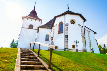 Stairs to Early-Gothic church of the Virgin Mary in village Pribylina in Liptov region (SLOVAKIA)