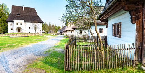 Old traditional houses of village Pribylina in Liptov region (SLOVAKIA)