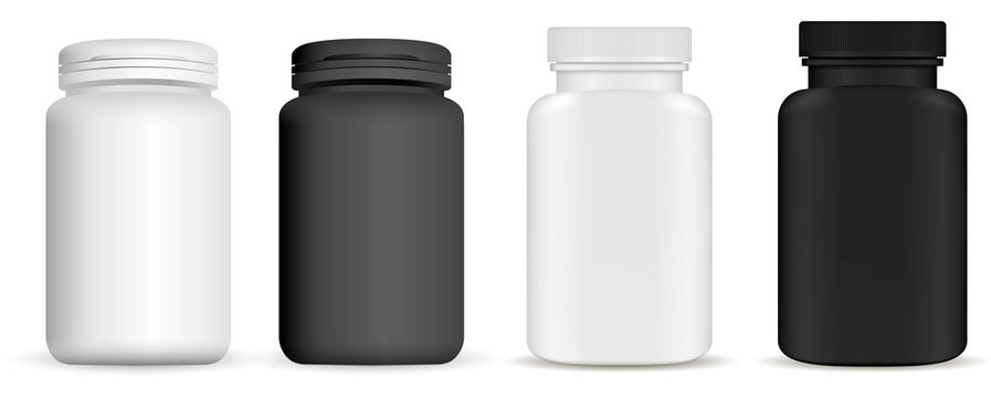 Medicine pill bottle. Vitamin package mockup. Plastic supplement jar 3d vector blank. Pharmaceutical product container isolated on backaground. Pharmacy remedy pack. Realistic vertical drug set