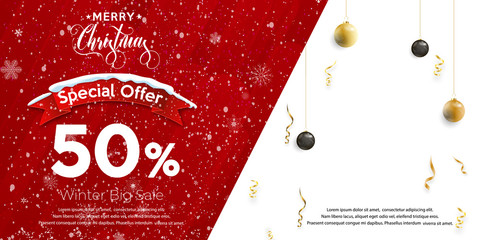 Merry Christmas and Happy New Year. Promotion banner with red ribbon, christmas ball, text and confetti. Shopping template for Christmas. Vector illustration