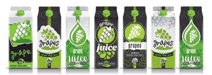 Ready design vector grape juice, fruit package set Fototapete