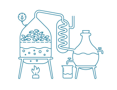 Essential oil making. Distillations aromatic oils production Perfumery substances Distiller equipment. Contour blue line vector.
