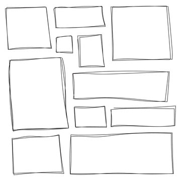 Set of freehand drawn horizontal and vertical rectangles and squares drawn by felt-tip pen. Text box and frames. Vector illustration.