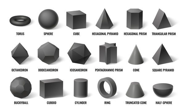 Realistic 3d basic shapes. Sphere shape with shadow, cube geometry and prism model in perspective. Basic geometric hexagonal, cylinder and pyramid forms. Concept isolated vector illustration icons set