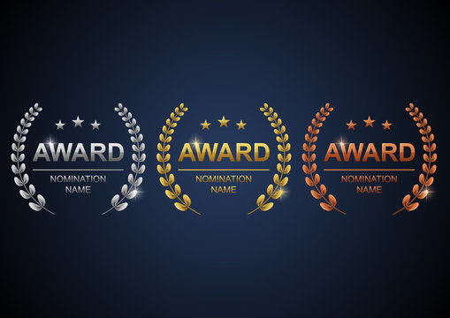 Awards logotype set. Gold, silver and bronze with blue background. Vector illustration