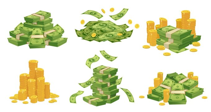 Cartoon money and coins. Green dollar banknotes pile, golden coin and rich. Bank debt bill investment, earnings treasure or jackpot money capital. Isolated vector illustration icons set