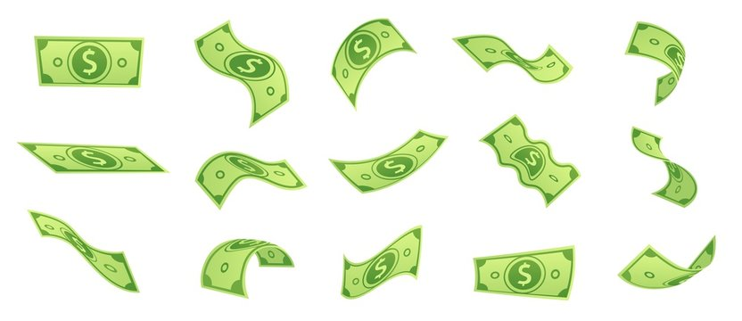 Cartoon falling money bills. Flying green dollar bill, 3d cash and usd currency. American money float banknotes, banking finance investment or jackpot win. Isolated vector symbols set