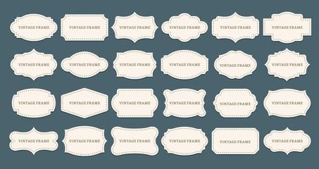 Vintage label frames. Old frame shapes, decorative label and retro shape. Luxury premium tag, elegant sticker sign or royal wedding logo. Isolated vector symbols set