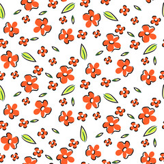 Poster Artificiel Floral seamless vector pattern. Hand drawn sketched flowers retro red texture.