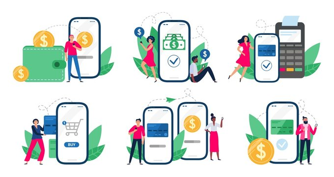 Mobile payments. People with smartphones send money transfers, POS-terminal payment and financial transactions. Bank app internet transaction technology. Isolated vector illustration icons set