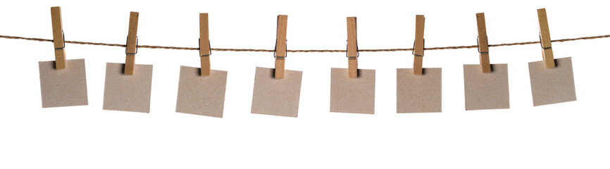 Set of blank notes held on string isolated Wall mural