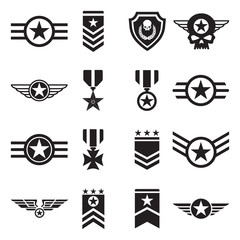 Military Badges Icons. Black Flat Design. Vector Illustration.