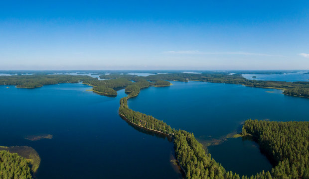 Aerial view of Punkaharju Nature Reserve in Finland