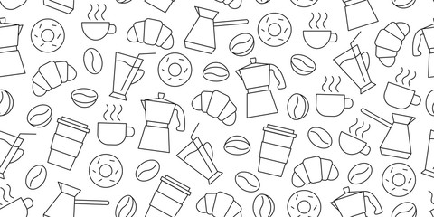 Shopping seamless pattern of line icons of coffee beans, cups, donuts, croissants, Cezve, coffee to go, package or fabric cover