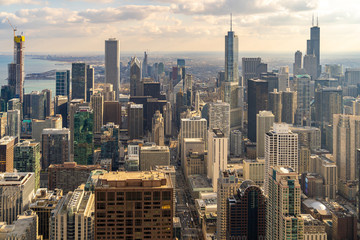 Wall Mural - Aerial view of Chicago Skylines South sunset