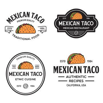 Set of taco logo, badges, banners, emblem for restaurant. Template for menu and cafe badge.