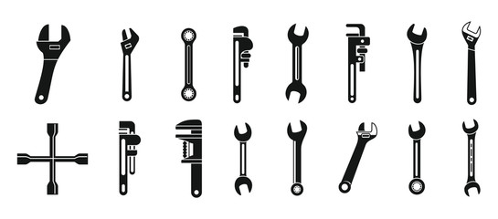 Wrench key icons set. Simple set of wrench key vector icons for web design on white background