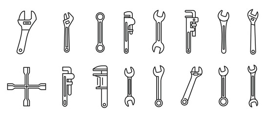 Garage wrench icons set. Outline set of garage wrench vector icons for web design isolated on white background