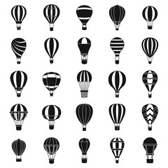 Hot air balloon icons set. Simple set of hot air balloon vector icons for web design on white background