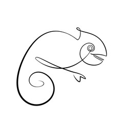 Foto auf AluDibond One Line Art Abstract, minimalistic, line art chameleon figure. Hand drawn, one line, printable, wall art illustration.