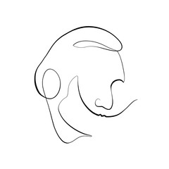 Foto auf AluDibond One Line Art Abstract, minimalistic, line art Salvador Dali silhoutte figure. Hand drawn, one line, printable, wall art illustration.