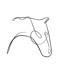 Foto auf AluDibond One Line Art Abstract, minimalistic, line art side horse head figure. Hand drawn, one line, printable, wall art illustration.