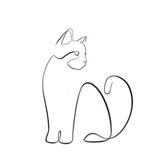Foto auf AluDibond One Line Art Abstract, minimalistic, line art looking cat figure. Hand drawn, one line, printable, wall art illustration.
