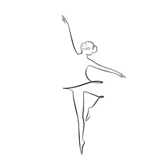 Foto auf AluDibond One Line Art Abstract, minimalistic, line art ballerina figure. Hand drawn, one line, printable, wall art illustration.