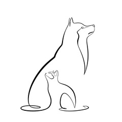 Foto auf AluDibond One Line Art Abstract, minimalistic, line art cat and dog figure. Hand drawn, one line, printable, wall art illustration.