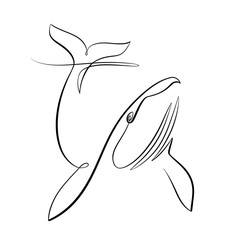 Foto auf AluDibond One Line Art Abstract, minimalistic, line art diving whale figure. Hand drawn, one line, printable, wall art illustration.