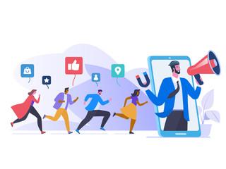 Referral marketing flat vector illustration