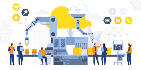 Automated assembling line flat vector illustration
