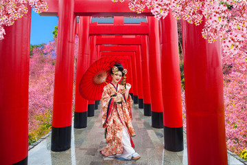 Young women wearing traditional Japanese Kimono at Japanese castle