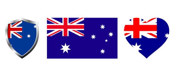 Set of Australia flag on isolated background vector illustration